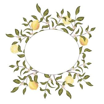 Круглая ботаническая рамка с лимонами и цветами. рисованной иллюстрации.
