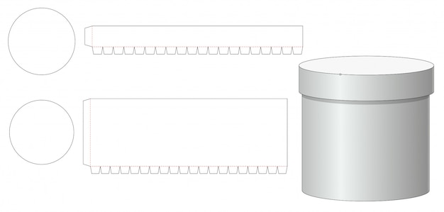 Round box and lid die cut template