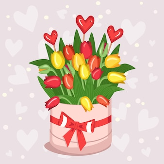 Round box with tulips hearts for valentine day women day mother day