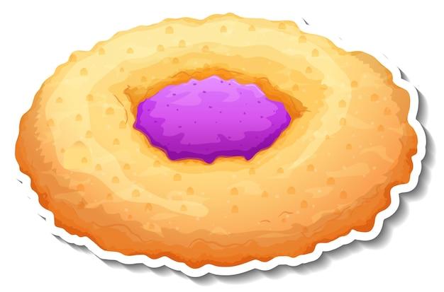 Pane tondo con adesivo marmellata di mirtilli su sfondo bianco