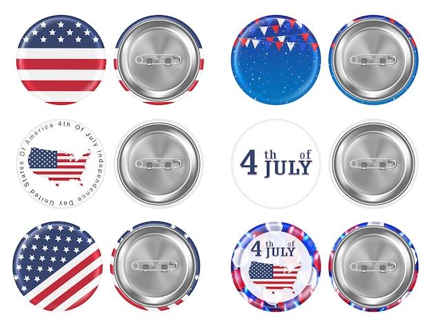 7月とアメリカの旗のテーマの4番目の丸いブローチ