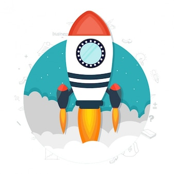 Round business background with flat rocket