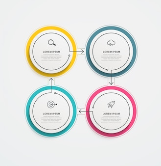 Round business infographics with icons and 4 options or steps.