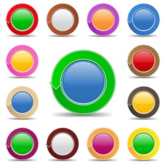 矢印付きの丸いボタン