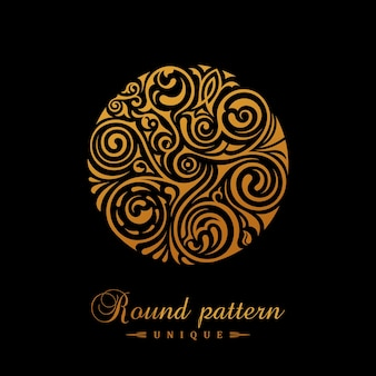Round calligraphic gold emblem for cafe stamp logo design