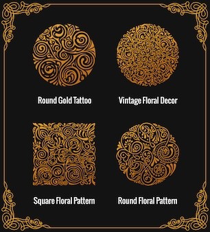 Round calligraphic gold emblems