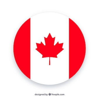 Round canadian flag background