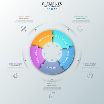 Round chart divided into 5 equal pieces with arrows, linear pictograms and place for text. concept of five stages of business cycle. creative infographic design template. vector illustration.
