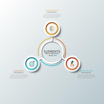 ラウンドチャート。カラフルなフレームとフラットなシンボルが中央に配置された3つの紙の白い円形要素。 3つのビジネスオプションの概念。インフォグラフィックデザインテンプレート。ベクトルイラスト