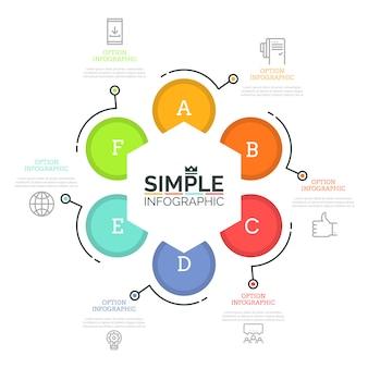 Круглая диаграмма с 6 буквенными элементами, шестиугольником в центре, тонкими линиями и текстовыми полями. прогрессивные шаги к успешной концепции развития бизнеса.