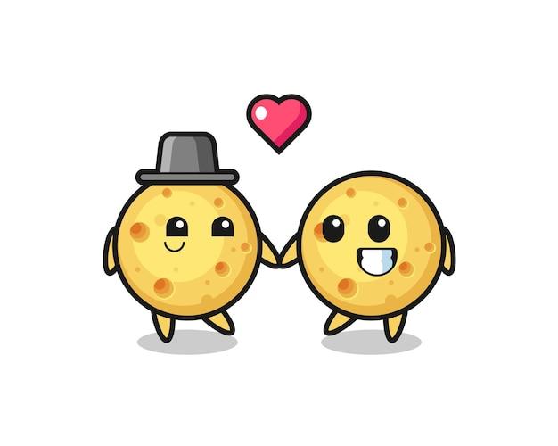 恋に落ちるジェスチャー、tシャツ、ステッカー、ロゴ要素のかわいいスタイルのデザインとラウンドチーズ漫画のキャラクターのカップル