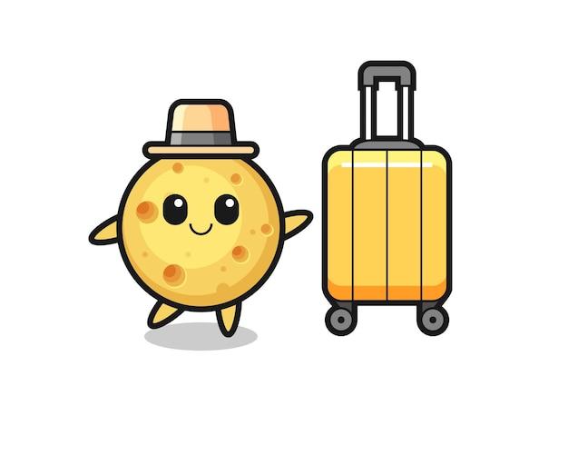 Иллюстрация шаржа круглого сыра с багажом в отпуске, симпатичный дизайн стиля для футболки, стикер, элемент логотипа