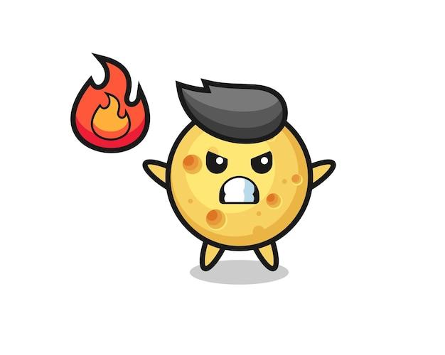 Круглый сырный персонаж мультфильма с сердитым жестом, милый стильный дизайн для футболки, стикер, элемент логотипа