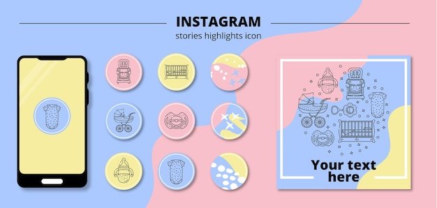 Round children's highlights icons for eternal stories in instagram