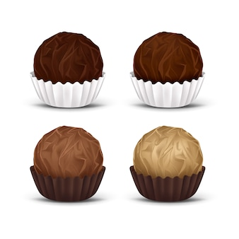 Round chocolate candies in corrugated paper wrapper