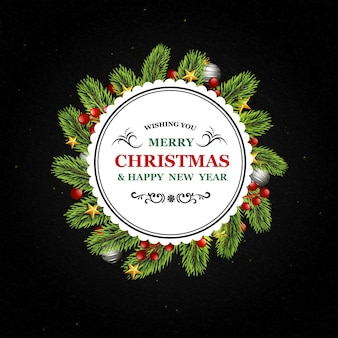 Round christmas background with fir branches, balls and candy elements