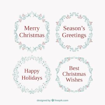 Круглые рождественские значки в форме рождественских венков
