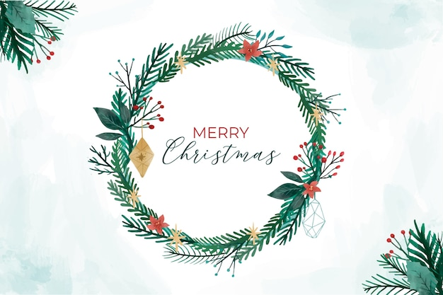 Round christmas frame with nature elements