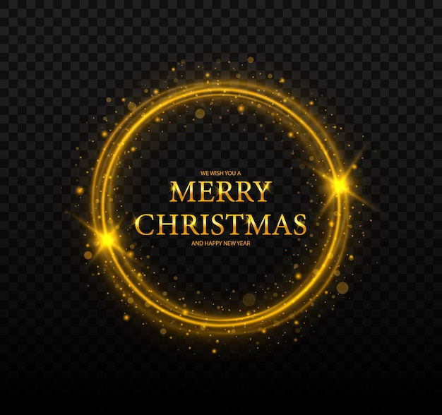 星と丸いクリスマスフレームフレームメリークリスマスグリーティングカード