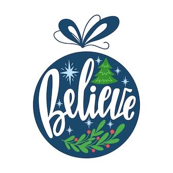 Круглый рождественский орнамент с рисованной буквами текста праздничное украшение