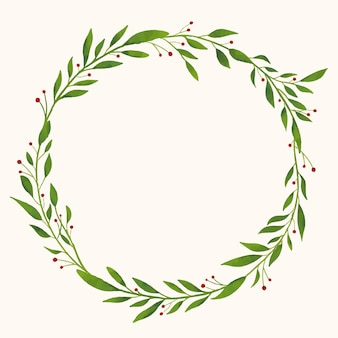 葉とベリーとラウンドクリスマス水彩花輪