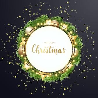 モミの木の花輪、星、ゴールドのキラキラとボールとラウンドクリスマス