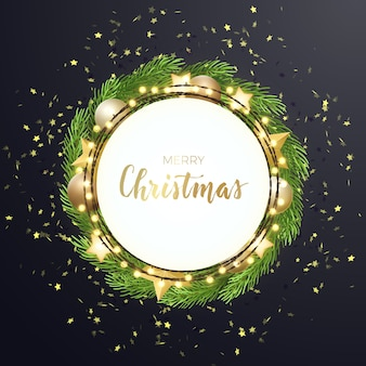 Round christmas with fir tree wreath, stars, gold glitter and balls