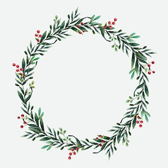Round Christmas Wreath Vector Watercolor Style