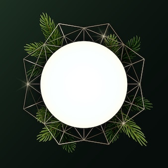 Round christmas wreath with fir branches and geometric shape. circle with copyspace.