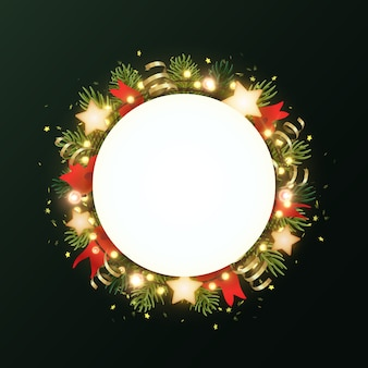 Round christmas wreath with fir branches, glowing stars, gold serpentines and luminous garland of bulbs. circle with copyspace.