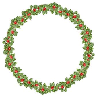 Круглый рождественский венок с холли ветвями, изолированные на белом.