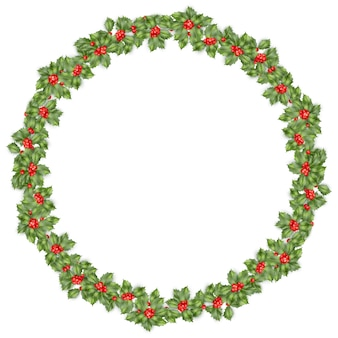 Round christmas wreath with holly branches isolated on white.