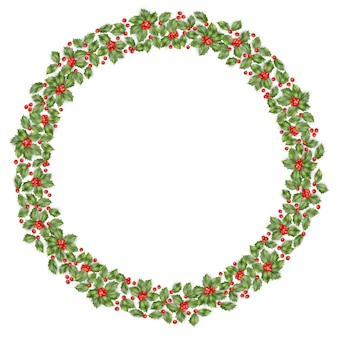 Round christmas wreath with holly.