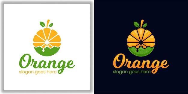ダイエット、健康食品、ライフスタイルベジタリアンのためのラウンドサークルフレッシュオレンジフルーツジュースモダンなロゴデザイン