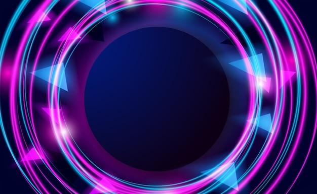 네온 라인 핑크와 사이 안 색상과 나이트 라이프 배경을위한 밝은 빛나는 효과가있는 둥근 원