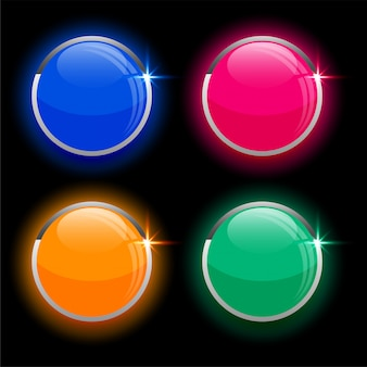 Round circles shiny glass buttons in four colors