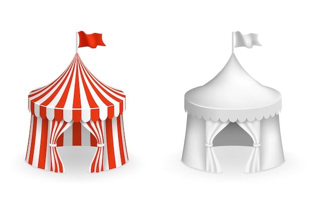 둥근 서커스 텐트. 입구 일러스트와 함께 축제 텐트입니다. 서커스와 카니발