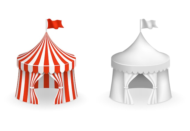 Round circus tent. festival tent with entrance illustration. circus and carnival