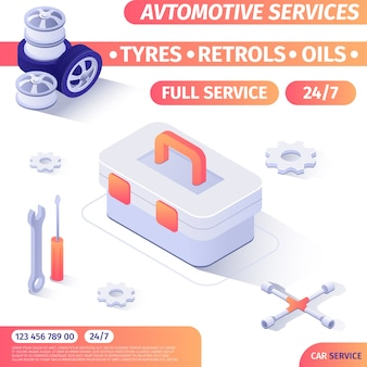 Round-the-clock automotive repair service tools shop advertising banner