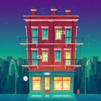 Round-the-clock cafe in residential multi-storey apartment at night