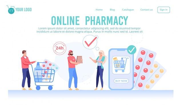 Round-the-clock online pharmacy service webpage