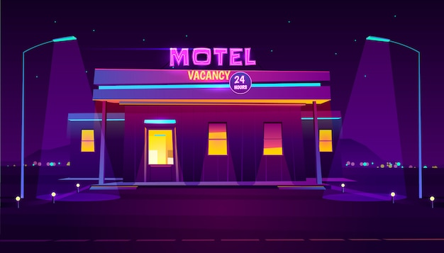Round the clock, roadside motel with car parking, glowing at night