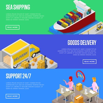 Round the clock shipping service banner web set