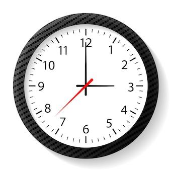 Round clock wall carbon frame concept office clock sport clock