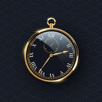 Round clock with golden frame realistic vector illustration shiny black clock face with classic roman numeral design