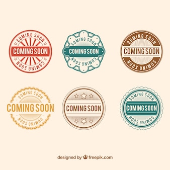Round collection of coming soon stickers
