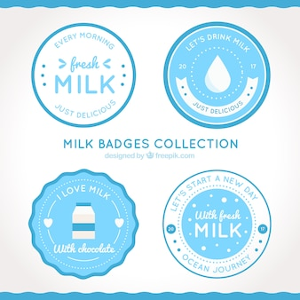 Round collection of milk badges