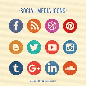 Round colored social media icons