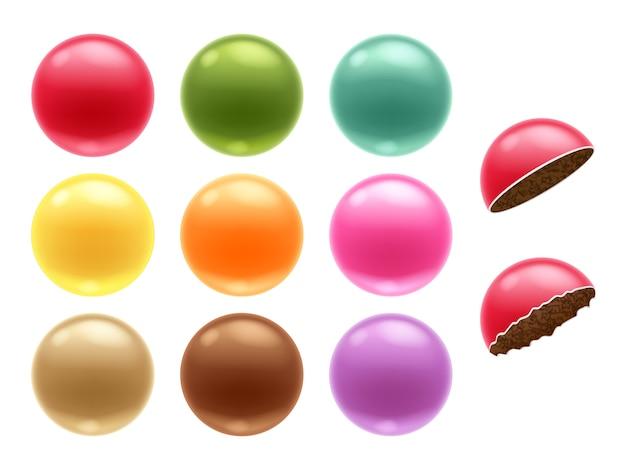 라운드 다채로운 초콜릿 당의정 사탕 세트.