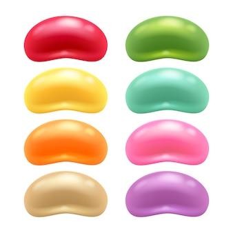 라운드 다채로운 젤리 콩 세트.